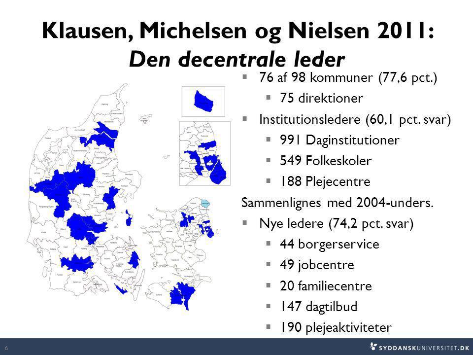 Klausen, Michelsen og Nielsen 2011: Den decentrale leder