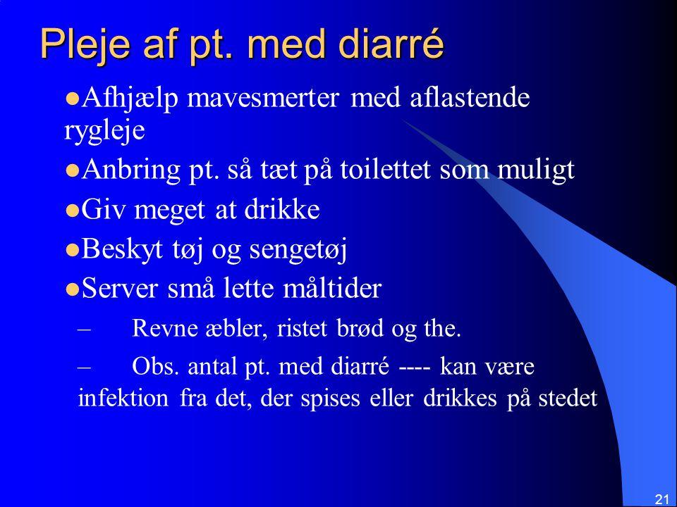 Pleje af pt. med diarré Afhjælp mavesmerter med aflastende rygleje