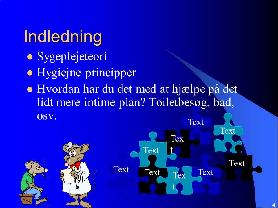 Indledning Sygeplejeteori Hygiejne principper