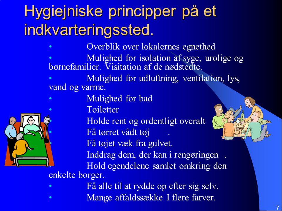 Hygiejniske principper på et indkvarteringssted.