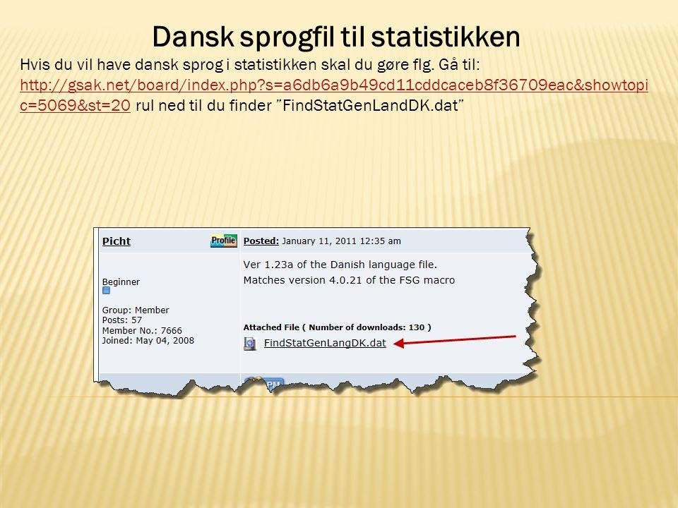 Dansk sprogfil til statistikken