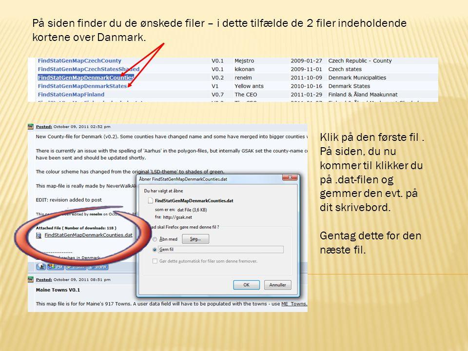 På siden finder du de ønskede filer – i dette tilfælde de 2 filer indeholdende