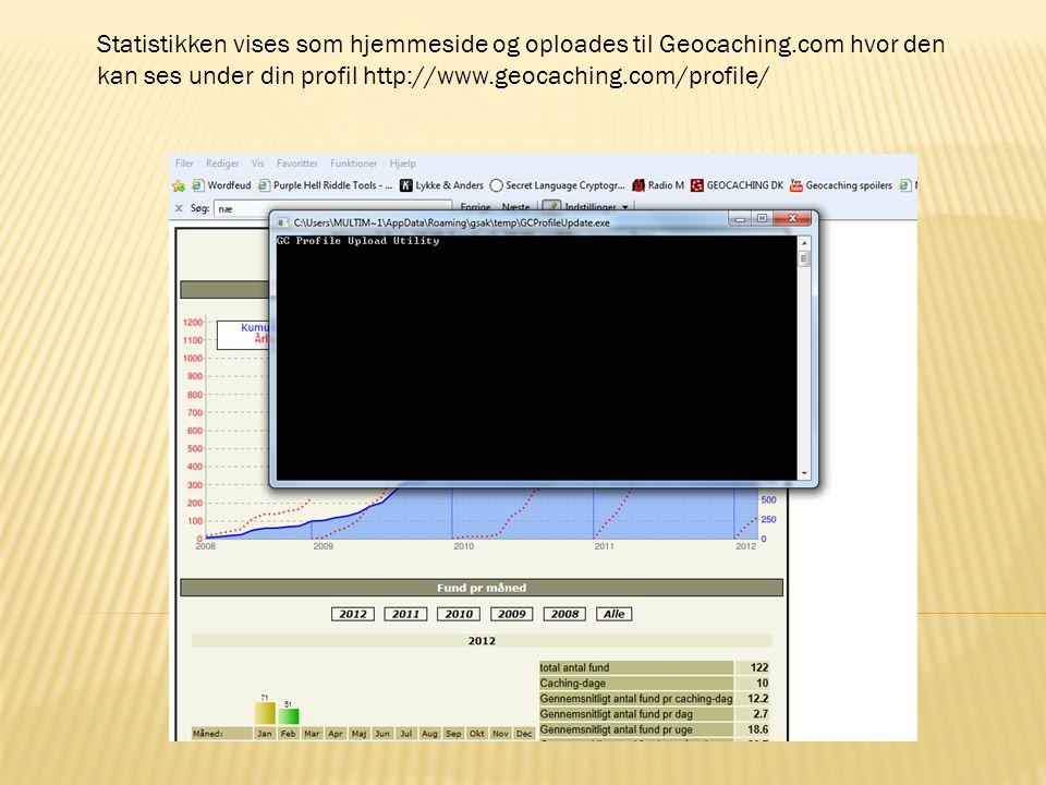Statistikken vises som hjemmeside og oploades til Geocaching