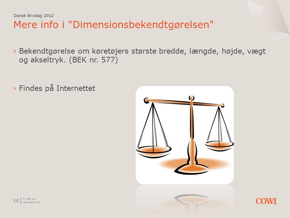 Mere info i Dimensionsbekendtgørelsen