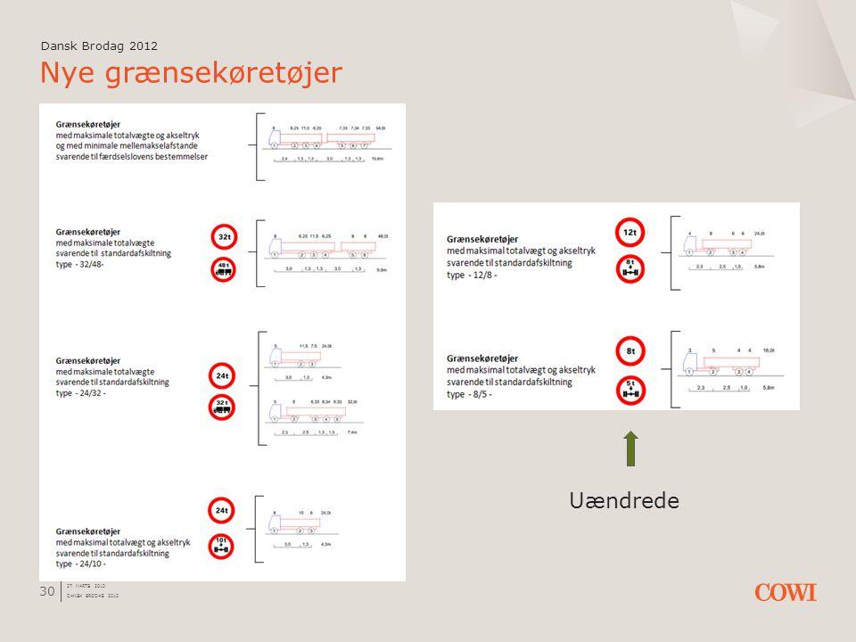 Nye grænsekøretøjer Uændrede Dansk Brodag 2012 Dansk Brodag 2012