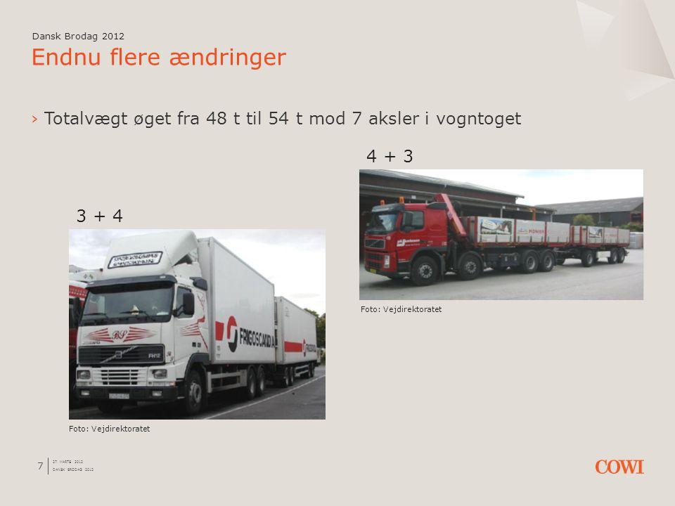 Dansk Brodag 2012 20 januar 2012. Dansk Brodag 2012. Endnu flere ændringer. Totalvægt øget fra 48 t til 54 t mod 7 aksler i vogntoget.