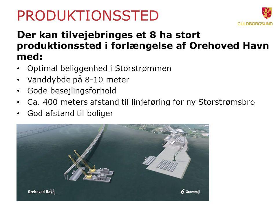 Produktionssted Der kan tilvejebringes et 8 ha stort produktionssted i forlængelse af Orehoved Havn med: