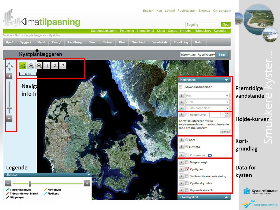 Smukkere kyster… v Navigation og info fra kort Fremtidige vandstande