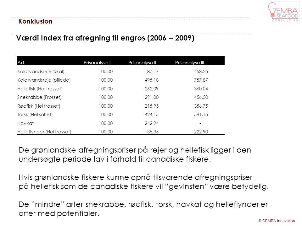 Værdi Index fra afregning til engros (2006 – 2009)