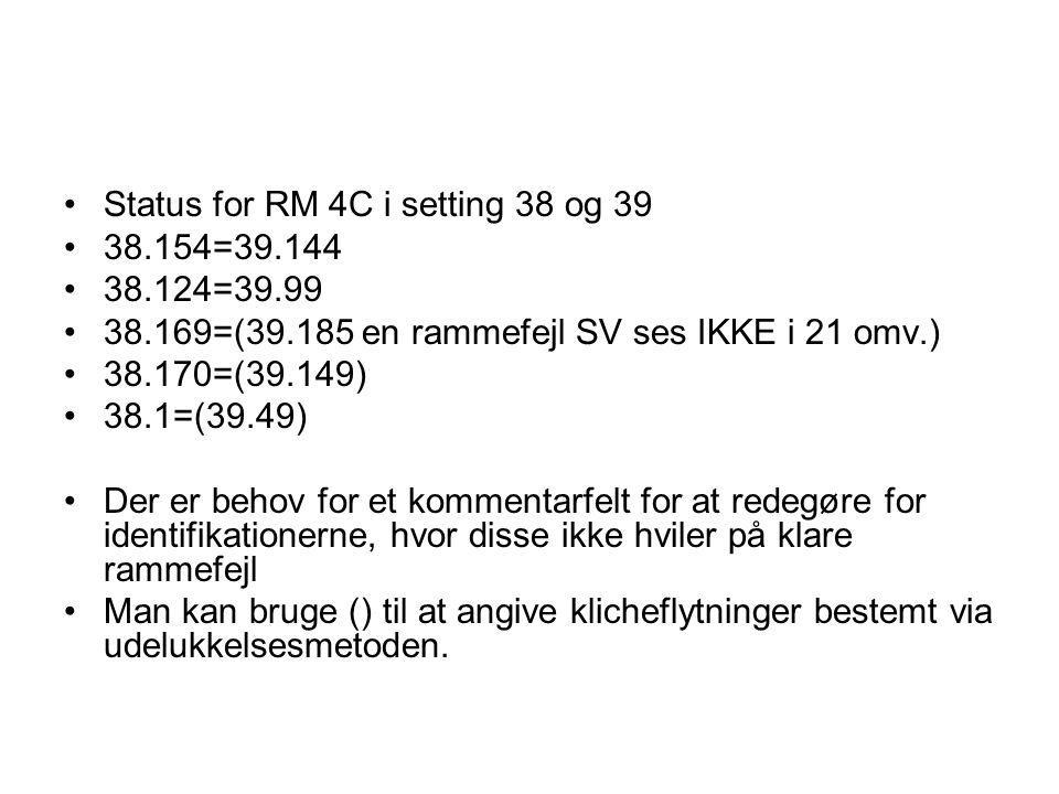 Status for RM 4C i setting 38 og 39