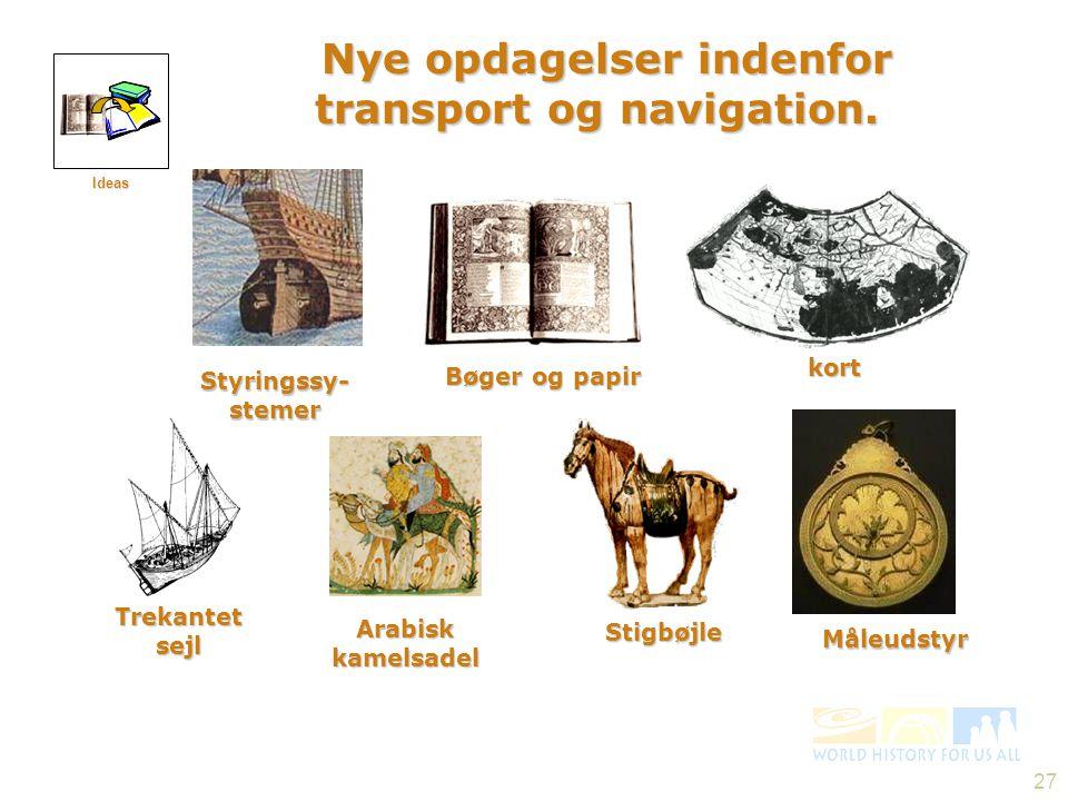 Nye opdagelser indenfor transport og navigation.