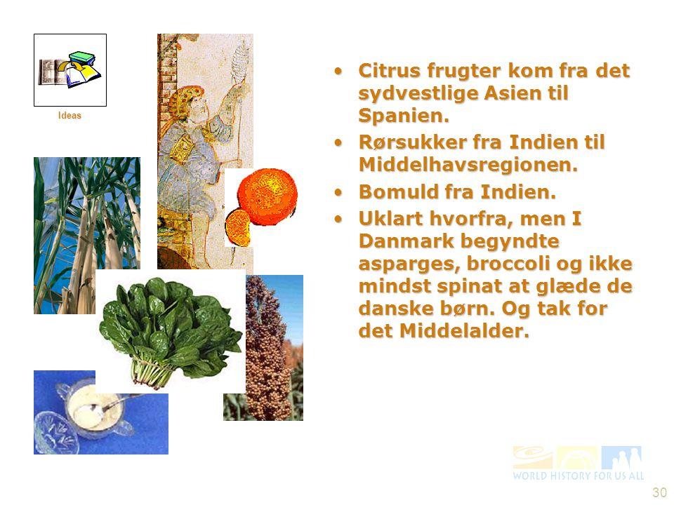 Citrus frugter kom fra det sydvestlige Asien til Spanien.