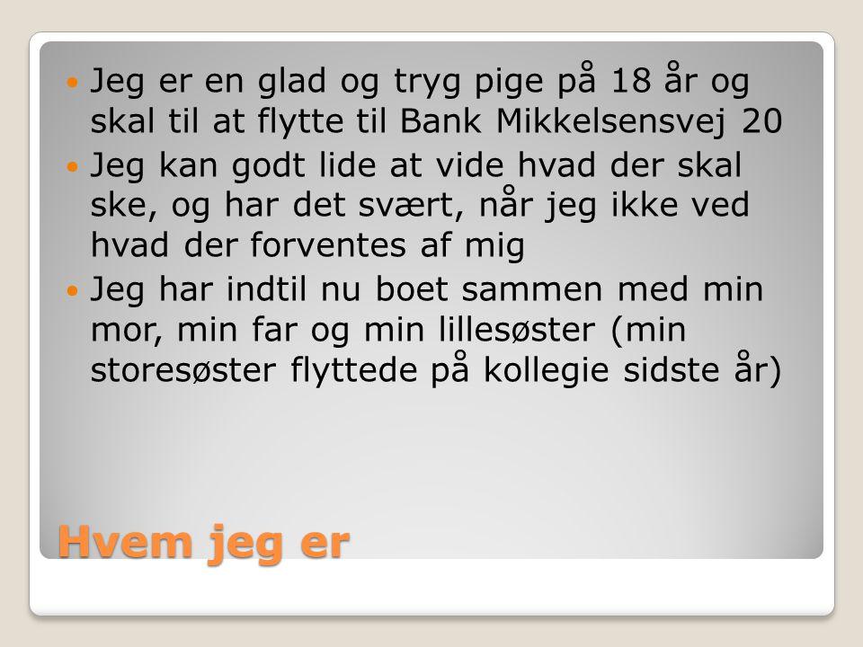Jeg er en glad og tryg pige på 18 år og skal til at flytte til Bank Mikkelsensvej 20