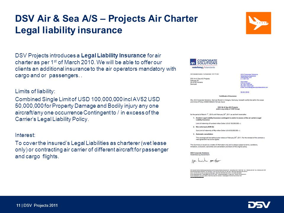 DSV Air & Sea A/S – Projects Air Charter Legal liability insurance
