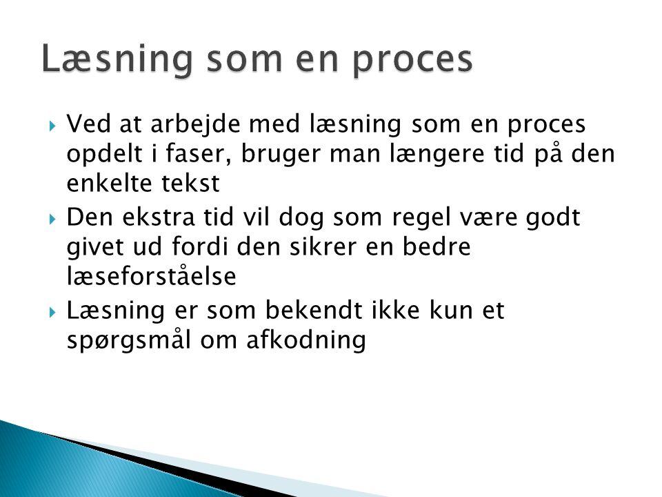 Læsning som en proces Ved at arbejde med læsning som en proces opdelt i faser, bruger man længere tid på den enkelte tekst.