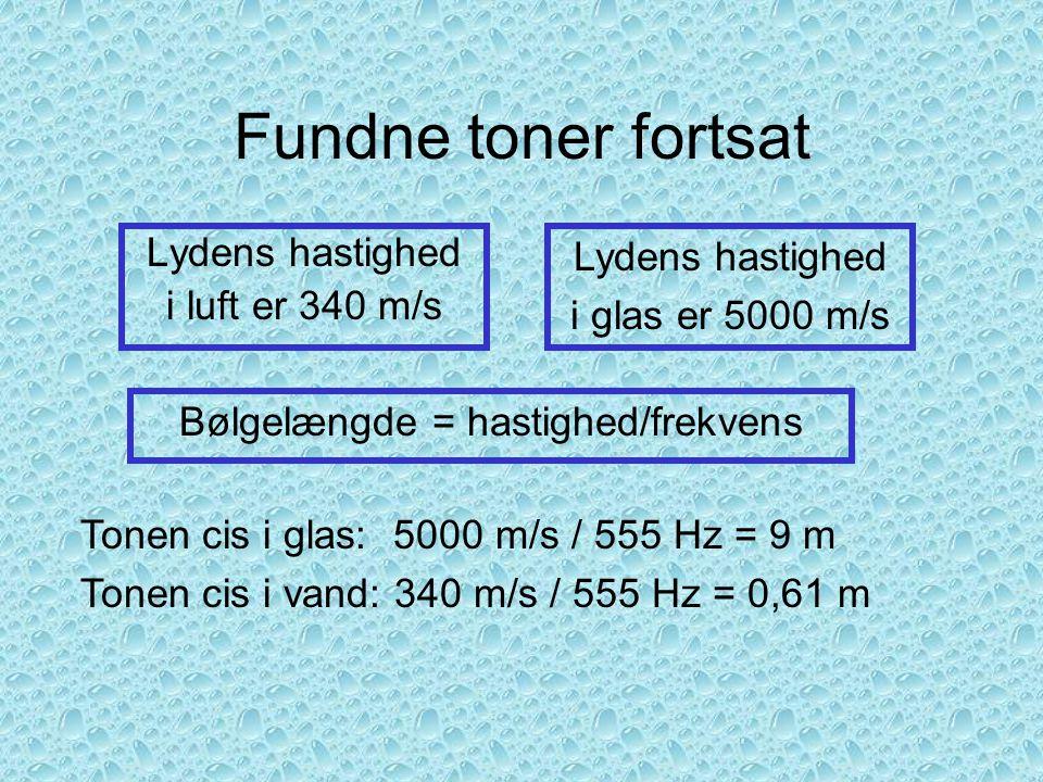 Bølgelængde = hastighed/frekvens