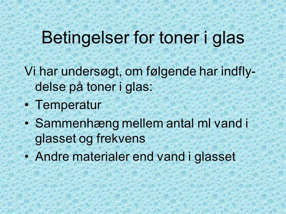 Betingelser for toner i glas
