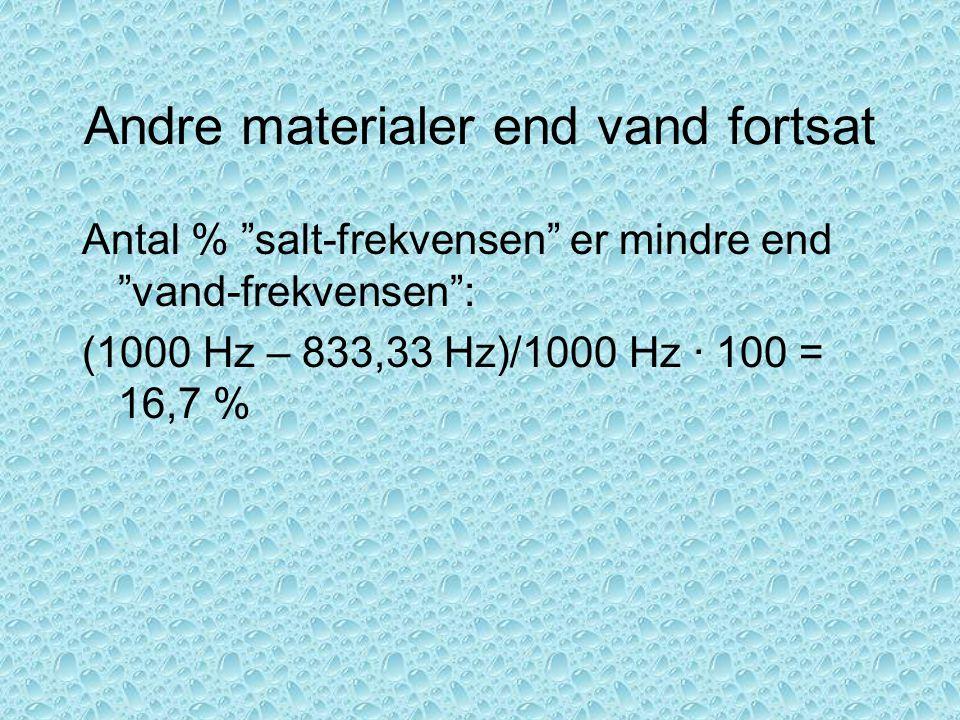 Andre materialer end vand fortsat