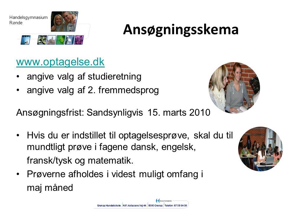 Ansøgningsskema www.optagelse.dk angive valg af studieretning