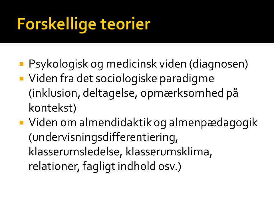 Forskellige teorier Psykologisk og medicinsk viden (diagnosen)