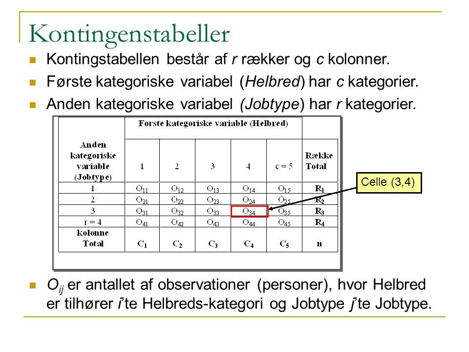 Kontingenstabeller Kontingstabellen består af r rækker og c kolonner.