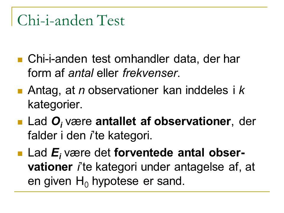 Chi-i-anden Test Chi-i-anden test omhandler data, der har form af antal eller frekvenser. Antag, at n observationer kan inddeles i k kategorier.