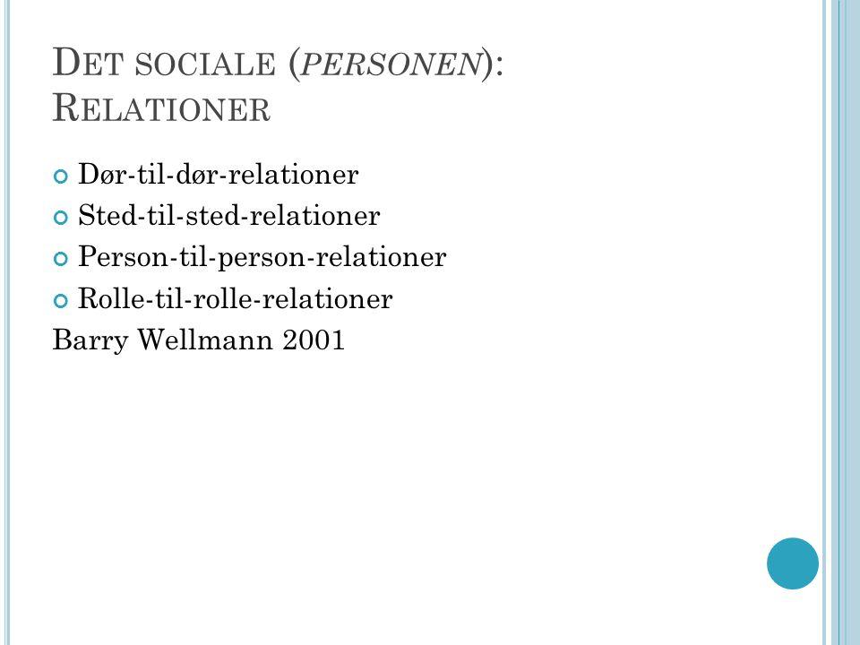 Det sociale (personen): Relationer