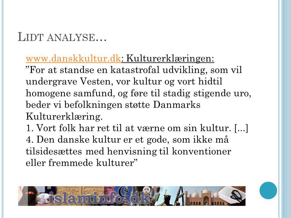 Lidt analyse… www.danskkultur.dk: Kulturerklæringen: