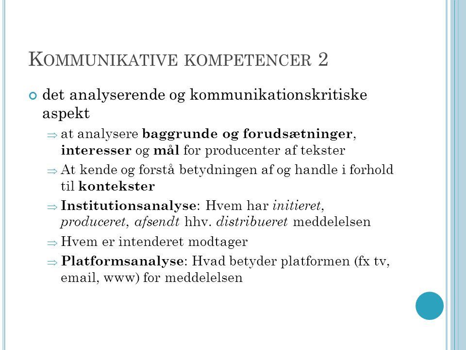 Kommunikative kompetencer 2