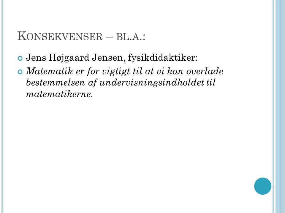 Konsekvenser – bl.a.: Jens Højgaard Jensen, fysikdidaktiker: