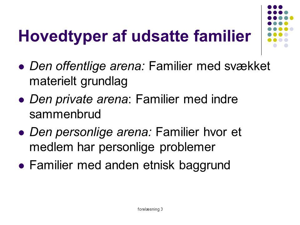 Hovedtyper af udsatte familier