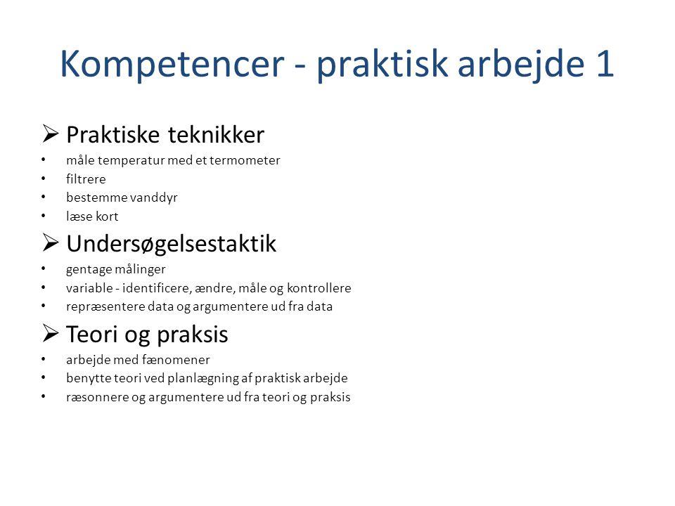 Kompetencer - praktisk arbejde 1