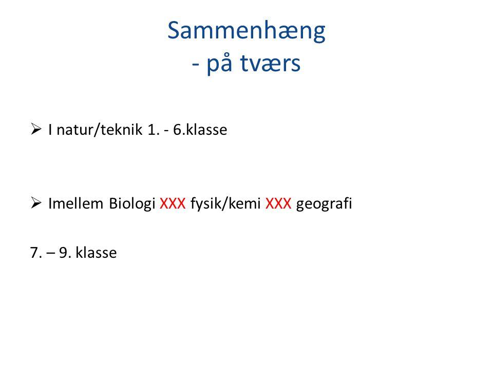 Sammenhæng - på tværs I natur/teknik 1. - 6.klasse