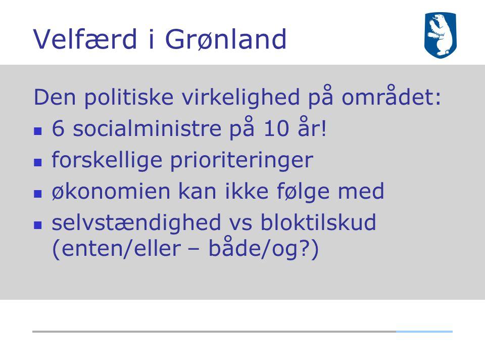 Velfærd i Grønland Den politiske virkelighed på området: