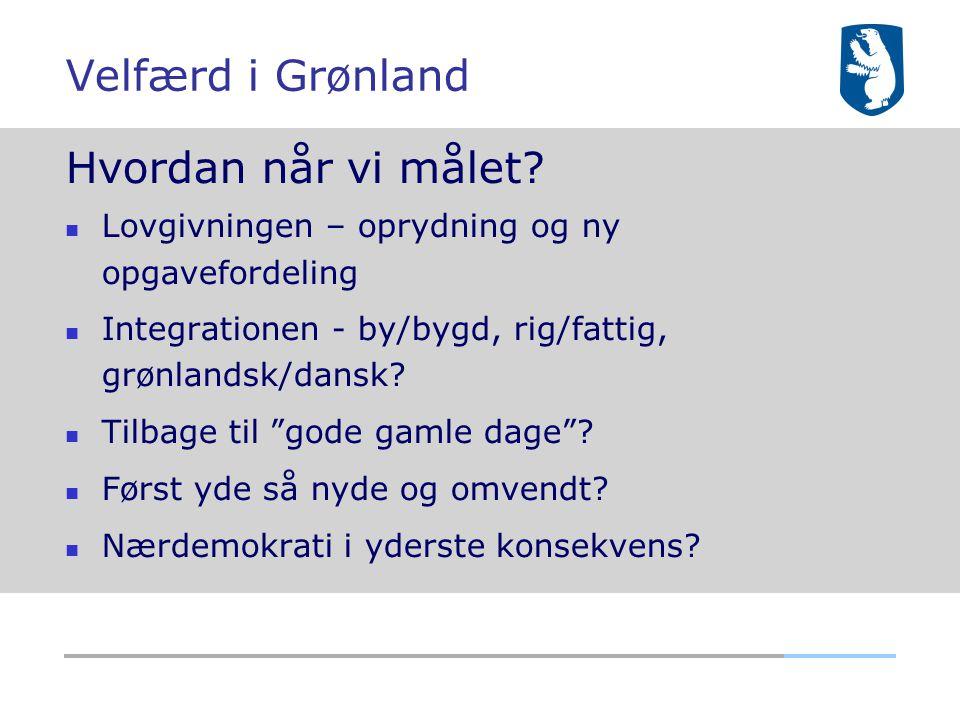 Velfærd i Grønland Hvordan når vi målet