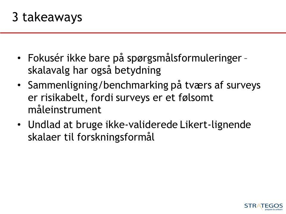 3 takeaways Fokusér ikke bare på spørgsmålsformuleringer – skalavalg har også betydning.