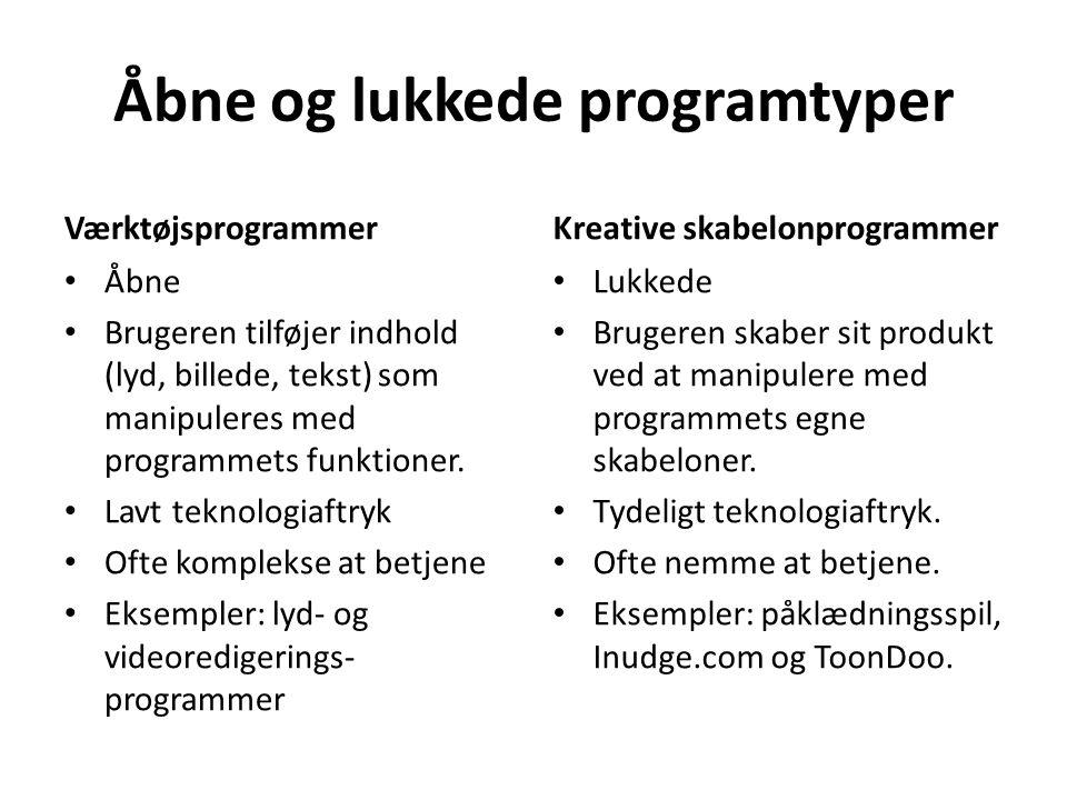 Åbne og lukkede programtyper