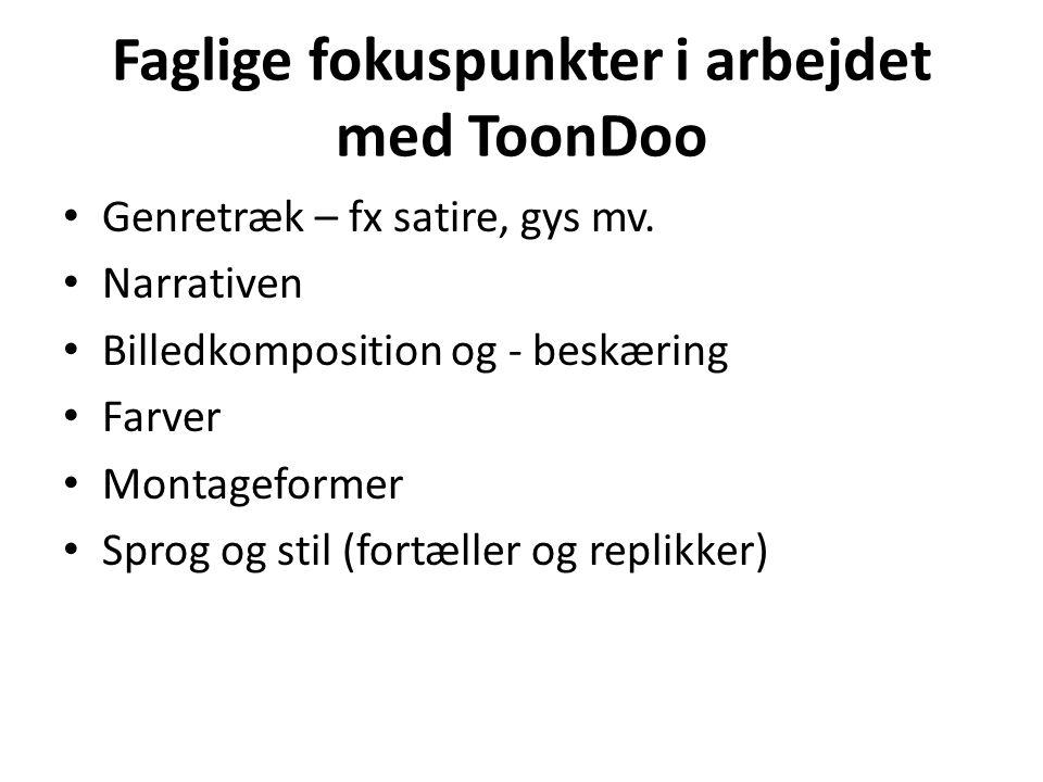 Faglige fokuspunkter i arbejdet med ToonDoo