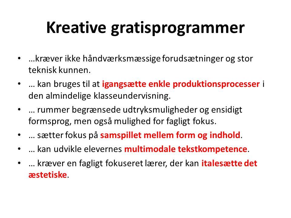 Kreative gratisprogrammer