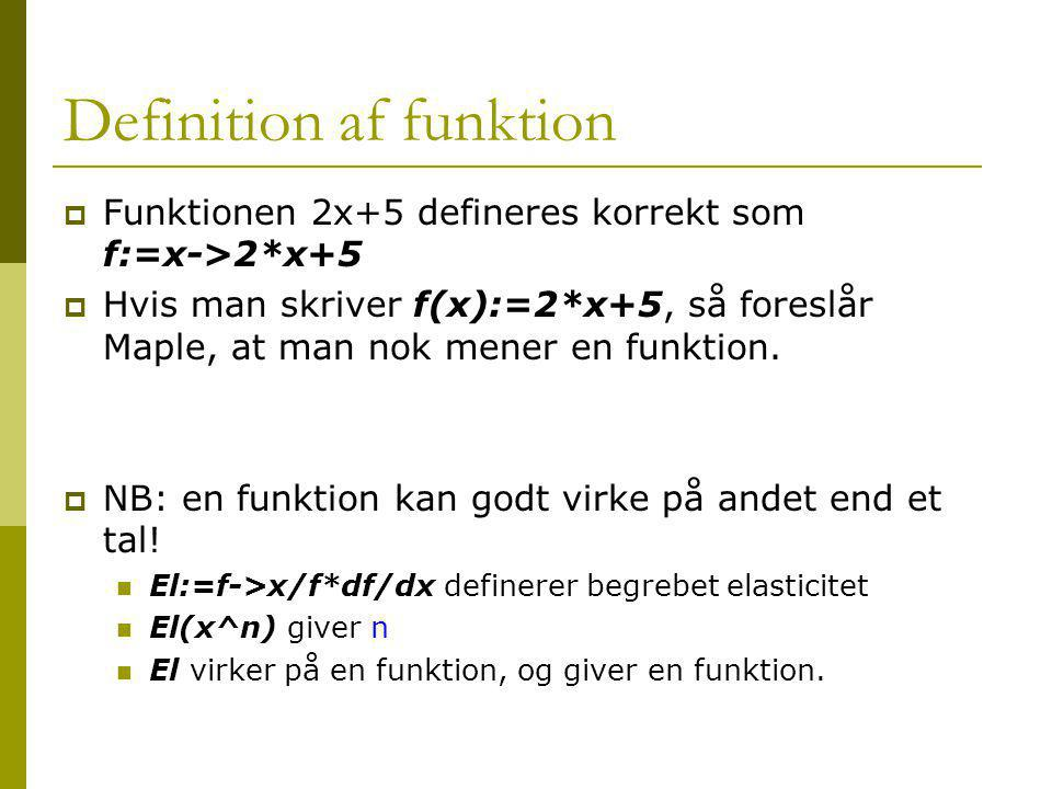 Definition af funktion