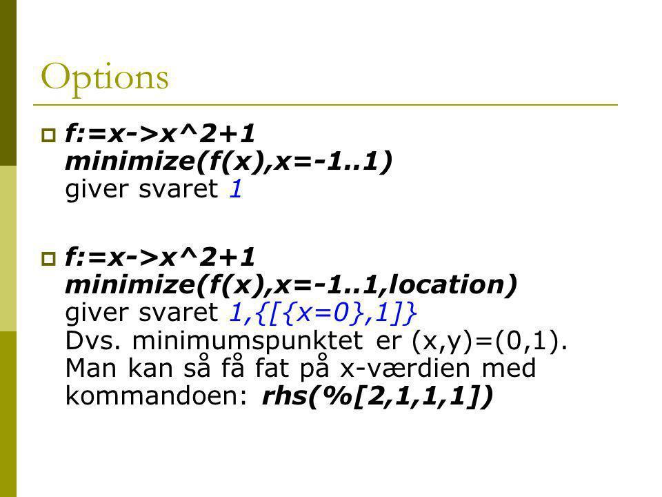Options f:=x->x^2+1 minimize(f(x),x=-1..1) giver svaret 1