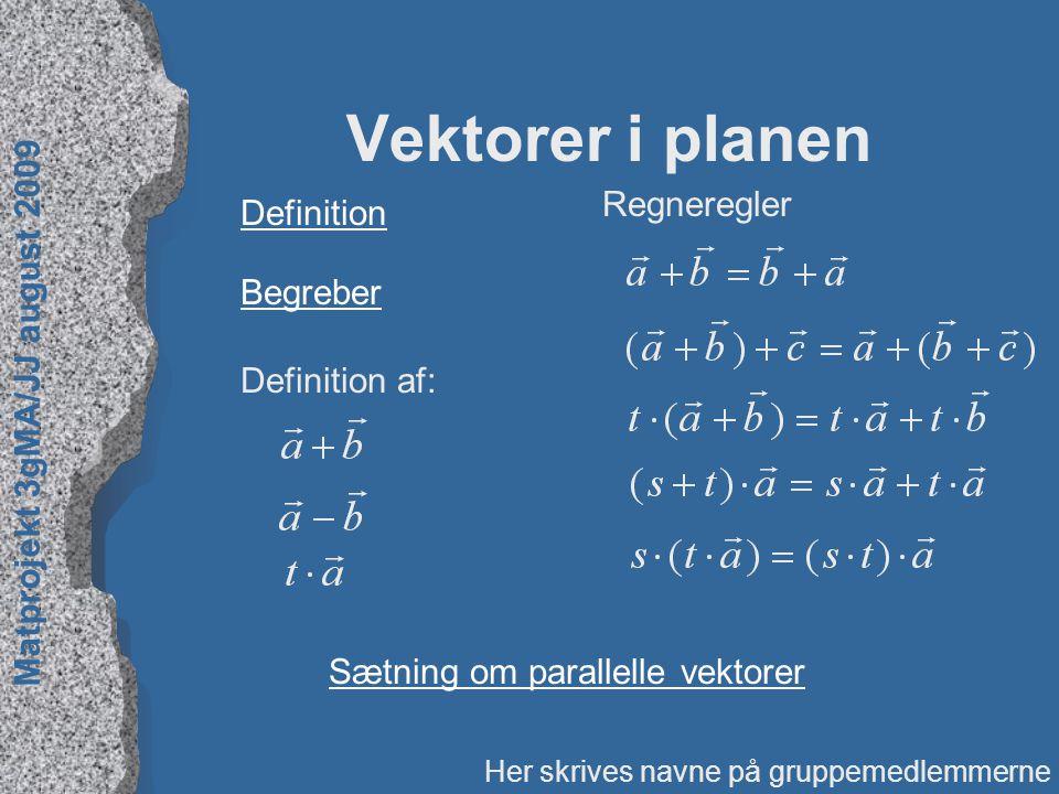 Vektorer i planen Regneregler Definition Begreber Definition af: