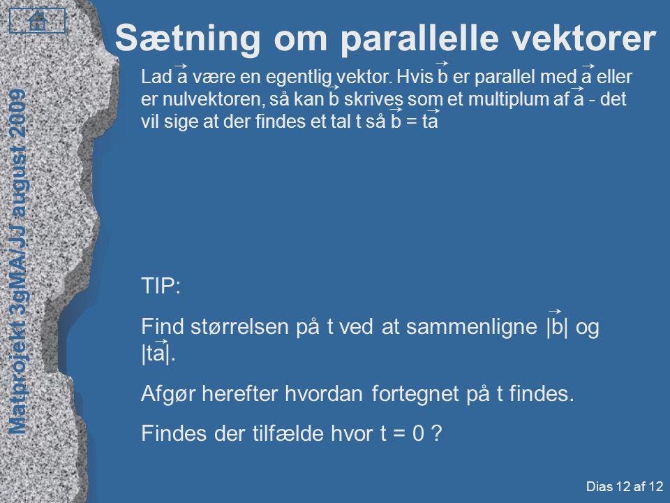 Sætning om parallelle vektorer