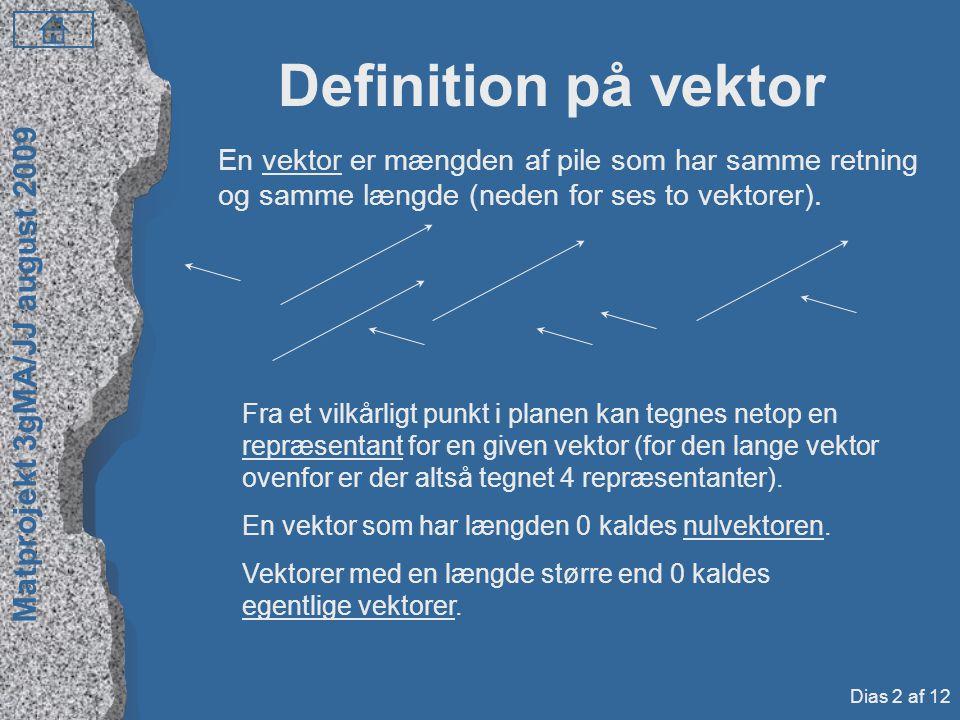 Definition på vektor En vektor er mængden af pile som har samme retning og samme længde (neden for ses to vektorer).