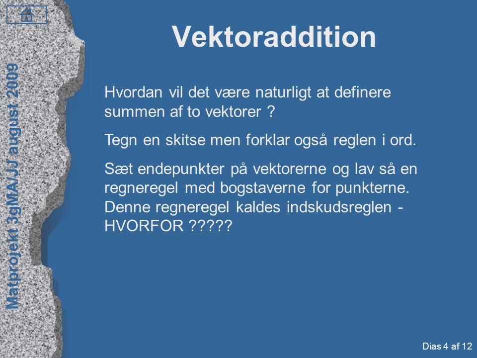 Vektoraddition Hvordan vil det være naturligt at definere summen af to vektorer Tegn en skitse men forklar også reglen i ord.