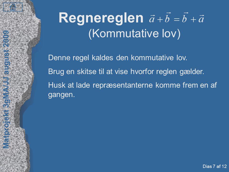 Regnereglen (Kommutative lov) Denne regel kaldes den kommutative lov.