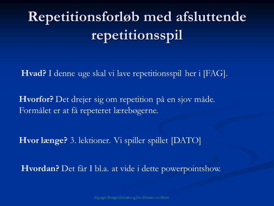 Repetitionsforløb med afsluttende repetitionsspil