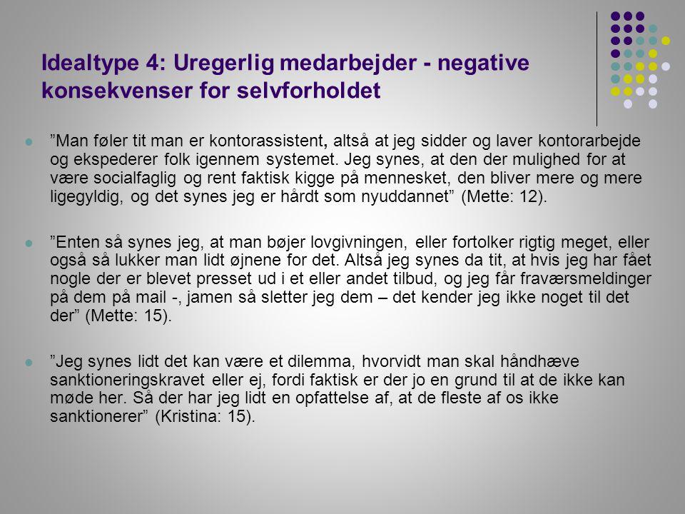 Idealtype 4: Uregerlig medarbejder - negative konsekvenser for selvforholdet
