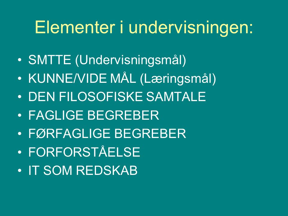 Elementer i undervisningen: