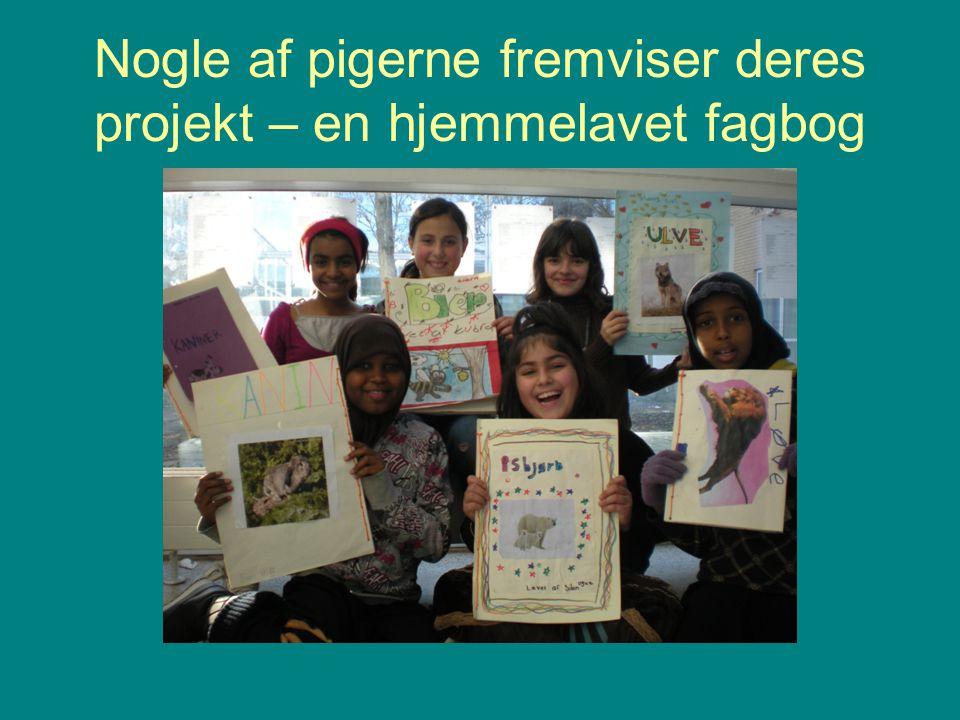 Nogle af pigerne fremviser deres projekt – en hjemmelavet fagbog